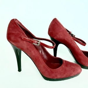 Karen Mullen red suede stiletto heels
